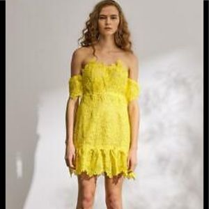 Foxiedox yellow lace over nude strapless dress M